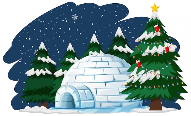 Kerstthema met kerstboom door iglo Gratis Vector