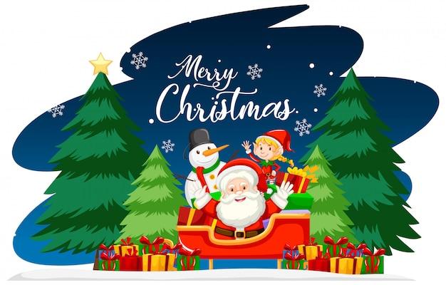 Kerstthema met kerstman en geschenken Gratis Vector