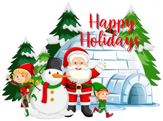 Kerstthema met kerstman en sneeuwpop door iglo Gratis Vector