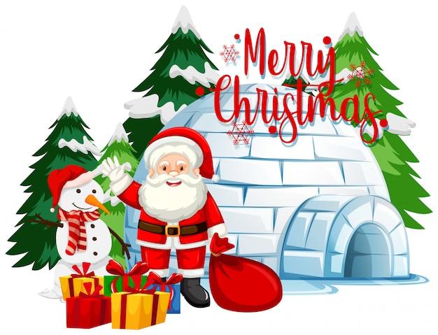 Kerstthema met kerstman en sneeuwpop Gratis Vector