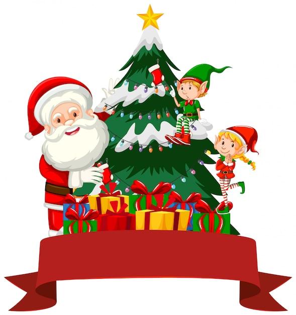 Kerstthema met santa en elf Gratis Vector