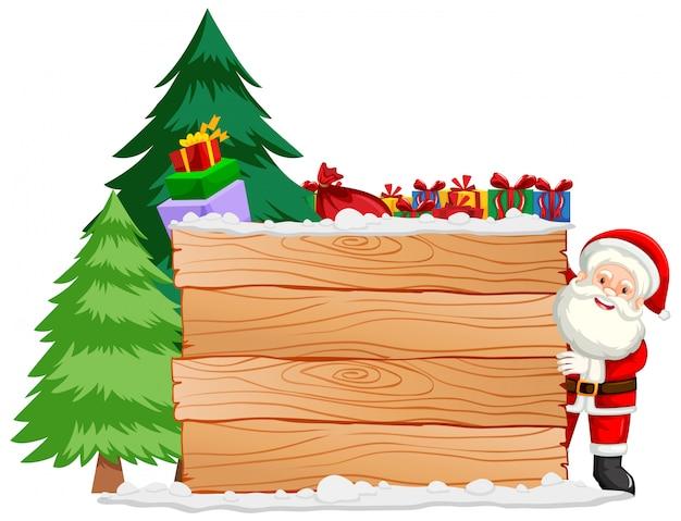 Kerstthema met santa en houten bord Gratis Vector