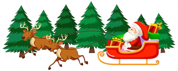 Kerstthema met santa op slee Gratis Vector