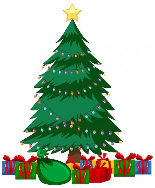 Kerstthema met veel cadeautjes onder de kerstboom Gratis Vector