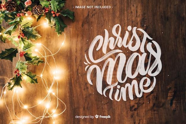 Kersttijd belettering Gratis Vector