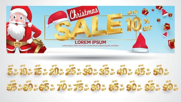 Kerstuitverkoop banner met kortingscode 10,20,30,40,50,60,70,80,90,99 procent Premium Vector