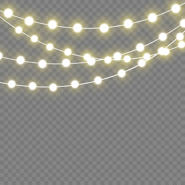 Kerstverlichting geïsoleerd realistische elementen. gloeiende lichten voor xmas holiday.led neon lamp Premium Vector