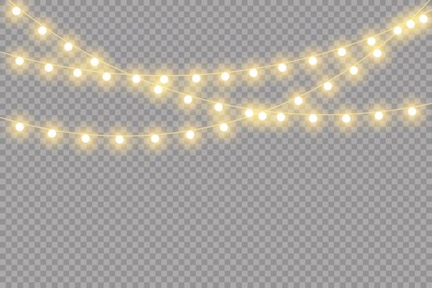 Kerstverlichting geïsoleerd, realistische slinger Premium Vector