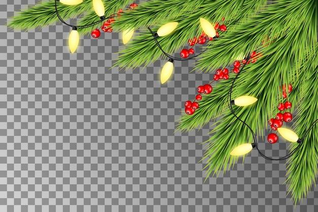 Kerstverlichting met dennentakken en bessen. kerstvakantie decoratie met takken van de boom Premium Vector