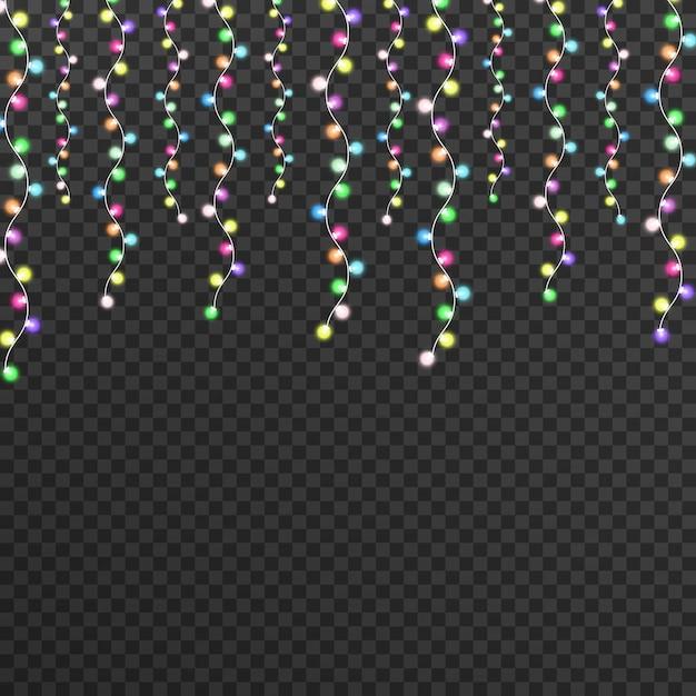 Kerstverlichting op een mooie transparante achtergrond. Premium Vector