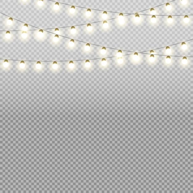 Kerstverlichting vector geïsoleerd op transparante achtergrond Premium Vector
