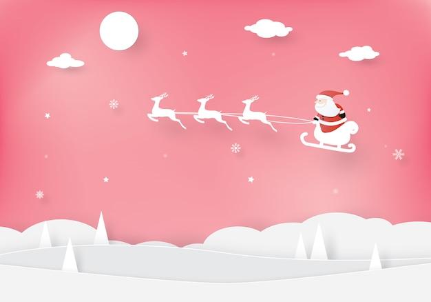 Kerstvieringen, gelukkig nieuwjaar, kerstman in een slee met rendieren, knipstijl, knutselen vectorontwerp Premium Vector