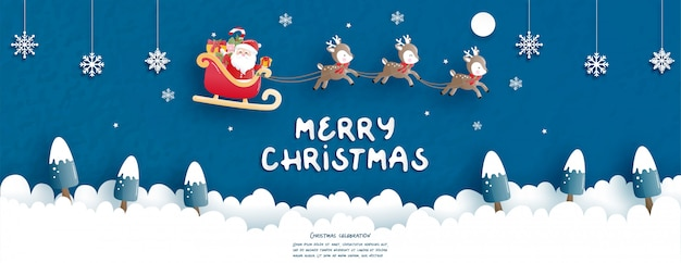Kerstvieringen met schattige kerstman en rendieren voor kerstkaart in papier gesneden stijl. Premium Vector