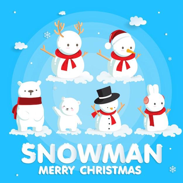 Kerstvieringen met schattige kerstman en rendieren voor kerstkaart in papierstijl knippen Premium Vector