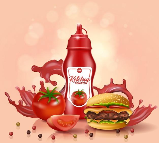 Ketchup bottle stand in de buurt van fresh tomato and burger Premium Vector