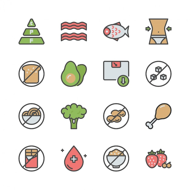 Ketogeen dieet in colorline icon set Premium Vector