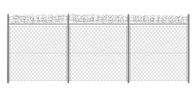 Ketting-link, rabitz hek fragment met metalen pijlers en prikkeldraad of scheermes draad 3d realistische vectorillustratie geïsoleerd. beveiligd gebied, beschermd gebied of gevangenisafrastering Gratis Vector