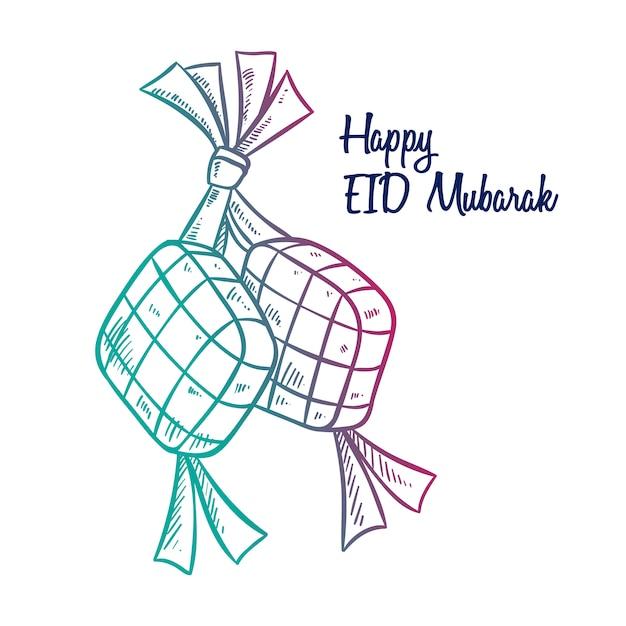 Ketupat voor eid mubarak of idul fitri met handgetekende stijl Premium Vector