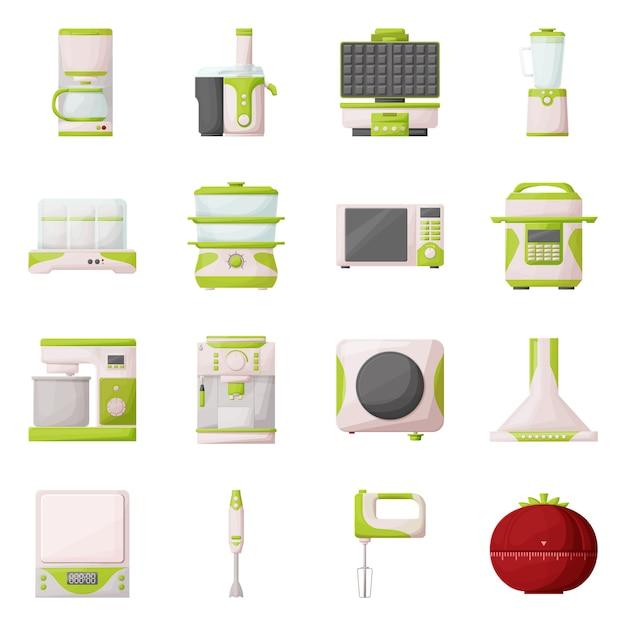 Keuken apparaat cartoon pictogramserie. geïsoleerde illustratie juicer, machine, blender en andere apparatuur voor keuken. pictogram set van huishoudelijke en gereedschap. Premium Vector