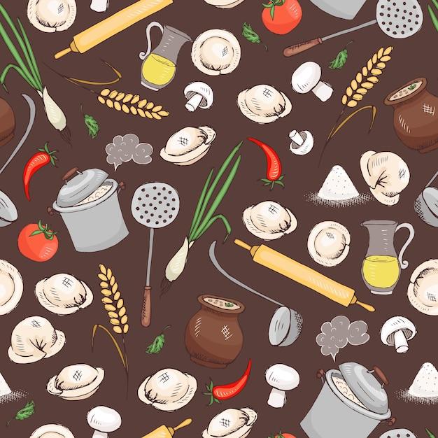 Keuken en voedsel naadloos vectorpatroon voor menu en een ander restaurantontwerp. Gratis Vector