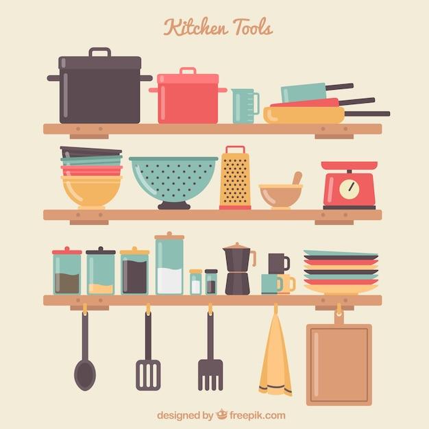 Keuken gereedschappen op de planken Gratis Vector