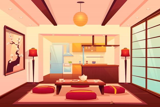 Keuken in aziatische stijl, chinese, japanse kamer Gratis Vector