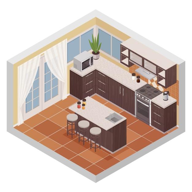 Keuken interieur isometrische samenstelling met bar stand oven magnetron en planken voor keukengerei fla Gratis Vector