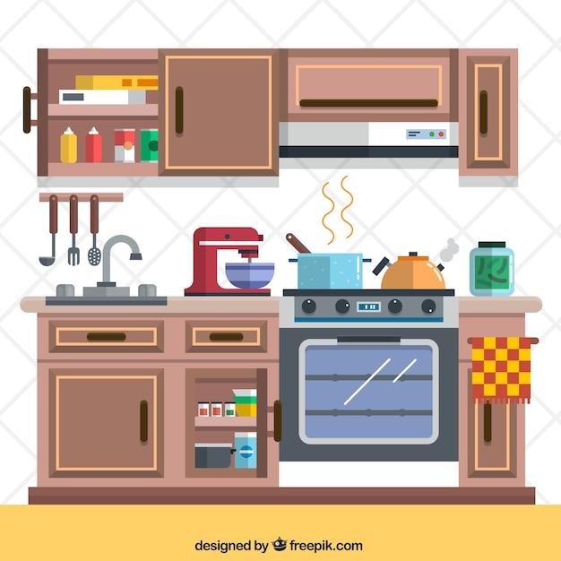 Keuken met elementen Gratis Vector