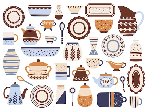Keuken servies. keramisch kookgerei, porseleinen kopjes en glazen pot. keuken tafelgerei geïsoleerde platte items set Premium Vector