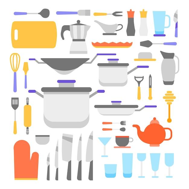 Keukengereedschap collectie Gratis Vector