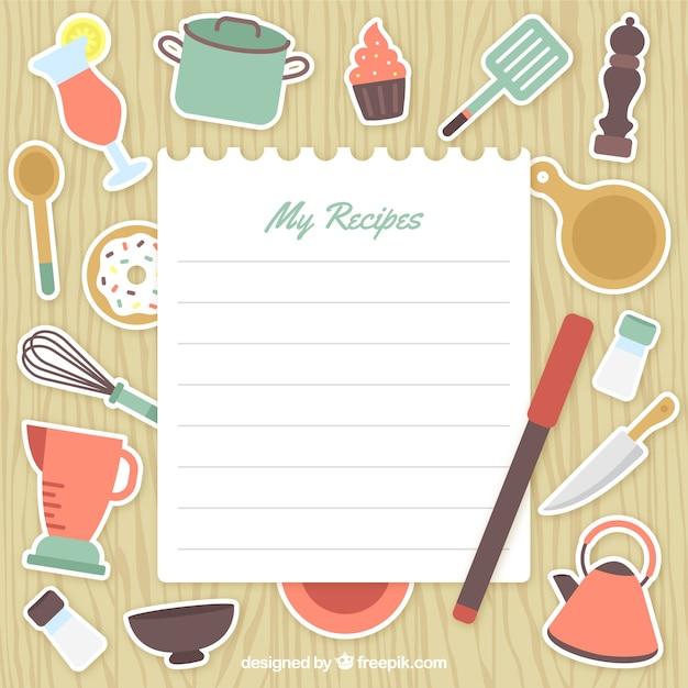 Keukengereedschap etiketten met een document nota Gratis Vector