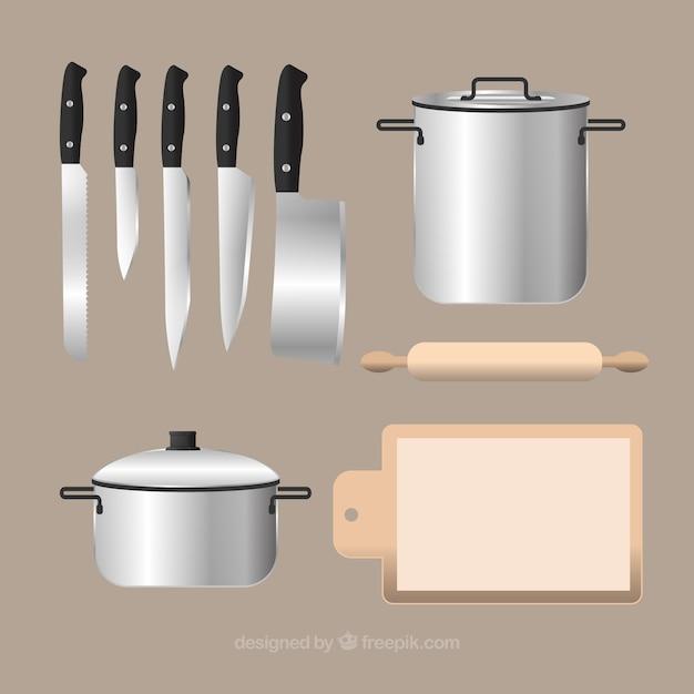 Keukengerei achtergrond in realistische stijl Gratis Vector