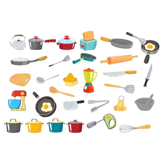 Keukengerei collectie Gratis Vector