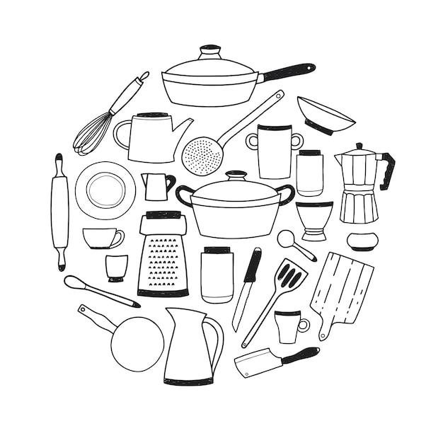 Keukengerei contour set. ronde compositie met gestileerde hand getrokken doodle gerechten vector illustratie. Premium Vector