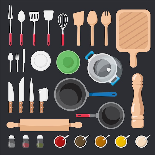 Keukengerei en ingrediënten vector set Gratis Vector