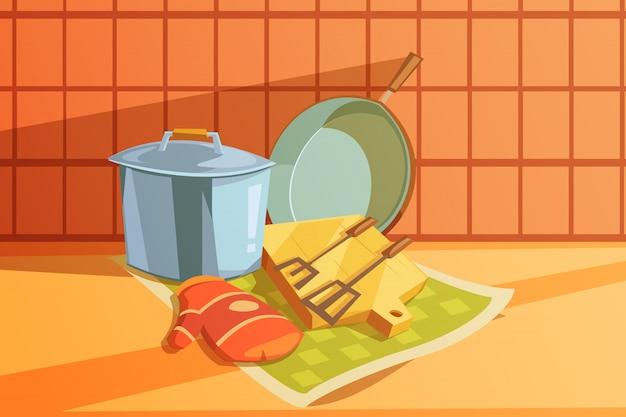 Keukengerei met steelpan hakbord en koekenpan Gratis Vector