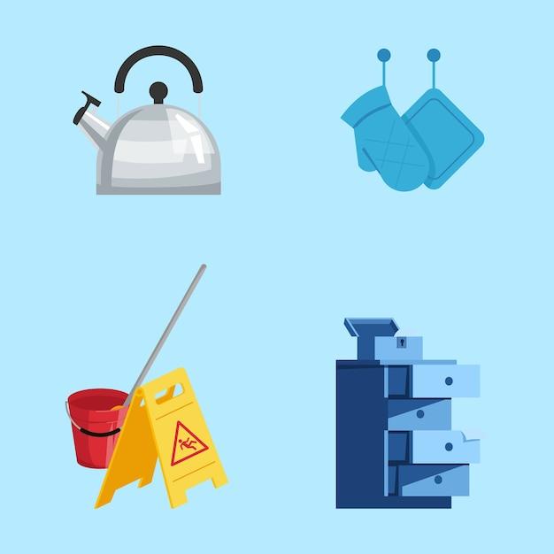 Keukengerei semi rgb-kleurenillustratieset. schoonmaak spullen. keukenapparatuur, accessoires. waterkoker, pannenlappen, waarschuwingsbord cartoon objecten collectie op blauwe achtergrond Premium Vector
