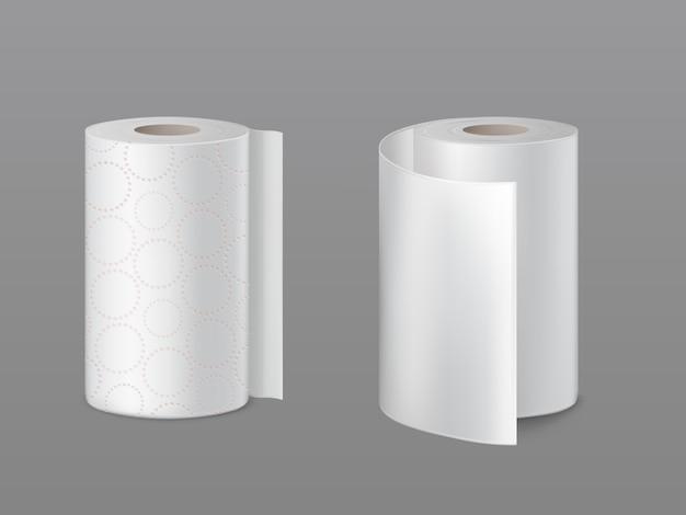 Keukenpapierrol, zachte toiletpapierrollen met geperforeerde cirkels en glad wit oppervlak Gratis Vector