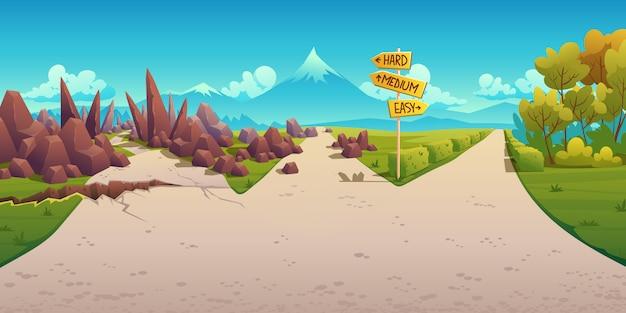 Keuze tussen hard, medium en gemakkelijk. landschap met wegvorkteken die op bochtige weg met barst, rotsen en rechte eenvoudige weg richten. probleem van het kiezen van richting, cartoon illustratie Gratis Vector