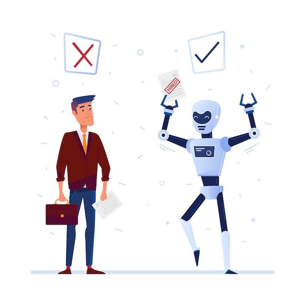 Keuze tussen kunstmatige intelligentie en mens. Premium Vector