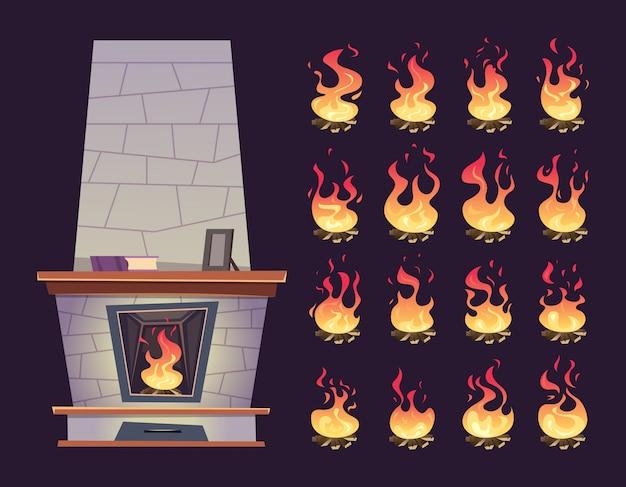 Keyframe-animatie van brandende open haard Premium Vector