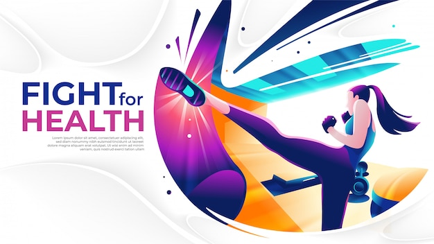 Kick boxing art in vector Premium Vector