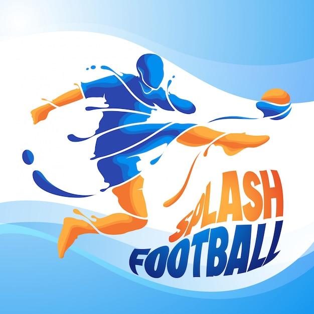 Kick splash voetbal Premium Vector
