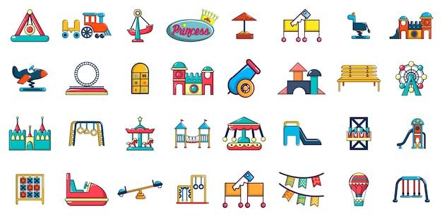 Kid amusement pictogramserie. beeldverhaalreeks vectorpictogrammen van het jong geitjegelamelijkheid geplaatst geplaatst Premium Vector