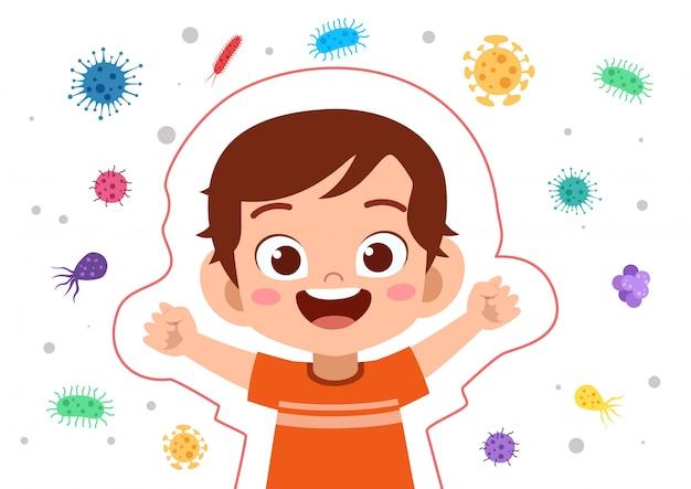 Kid boy-systeem immuunbescherming Premium Vector