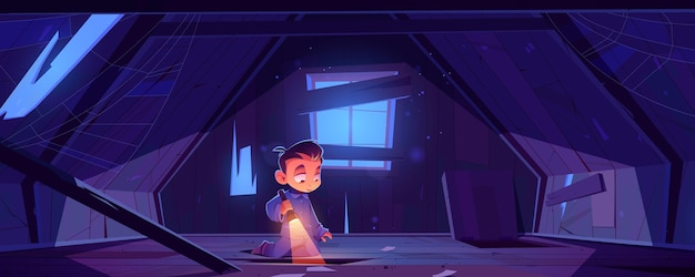 Kid in verlaten huiszolder 's nachts Gratis Vector