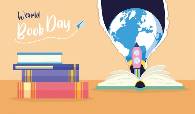 Kid in world book day Gratis Vector