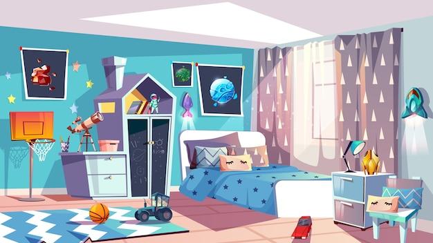 Kid jongen kamer interieur illustratie van moderne slaapkamermeubilair in blauwe scandinavische stijl. Gratis Vector