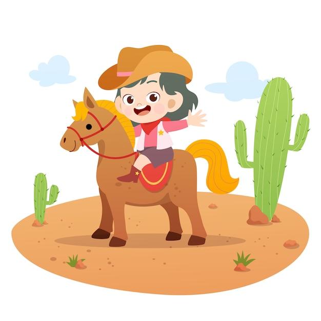 Kid paardrijden paard vectorillustratie geïsoleerd Premium Vector