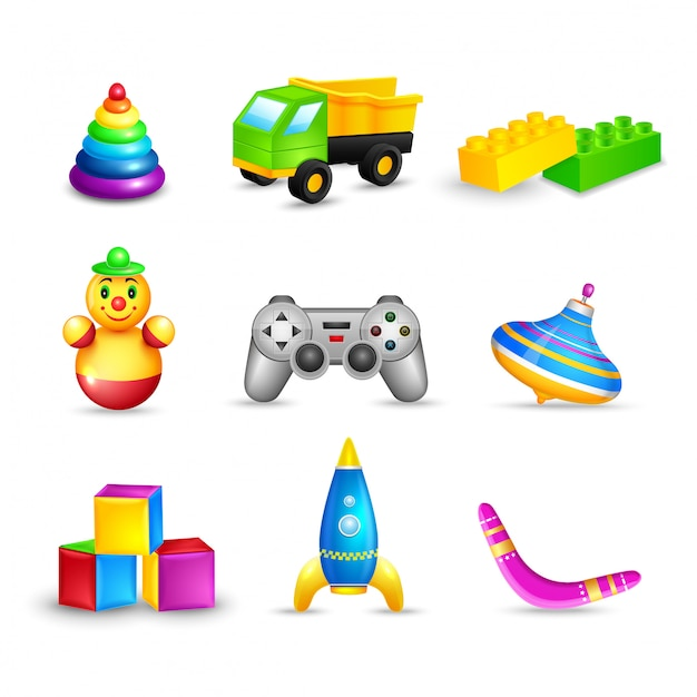 Kid toys set Gratis Vector